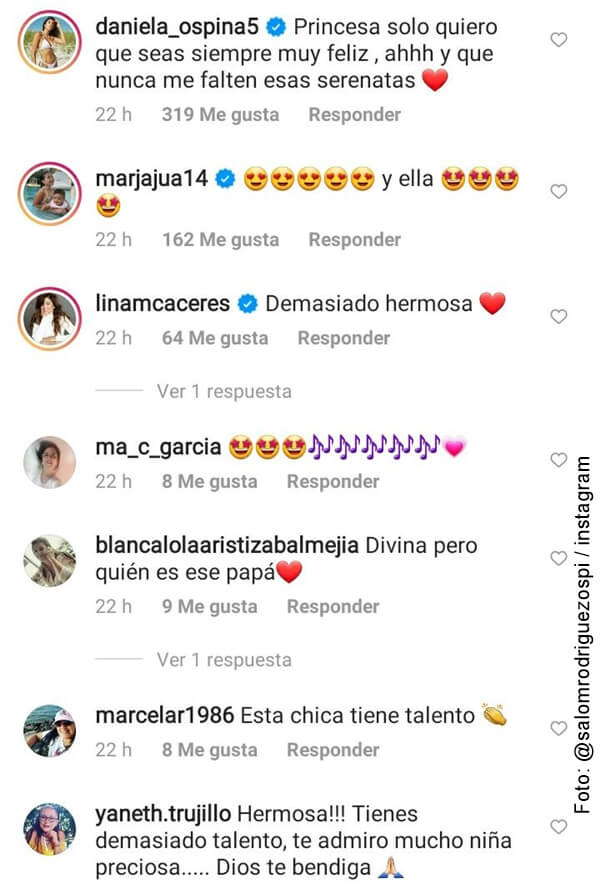 foto de los comentarios del video de salomé rodriguez cantando en inglés