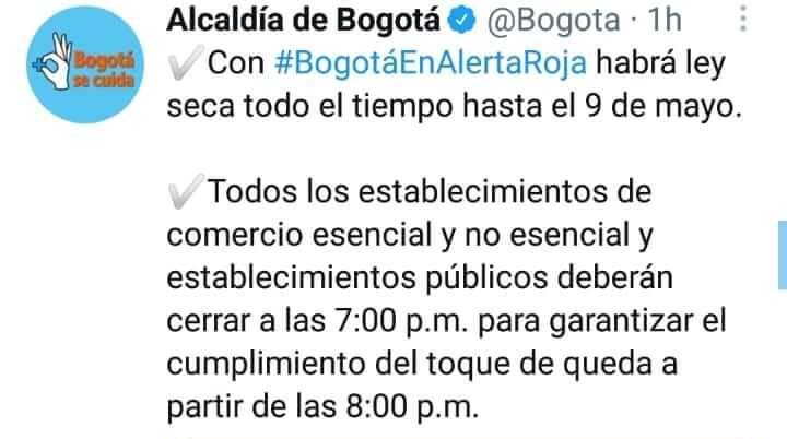 Print de Twitter de la Alcaldía de Bogotá