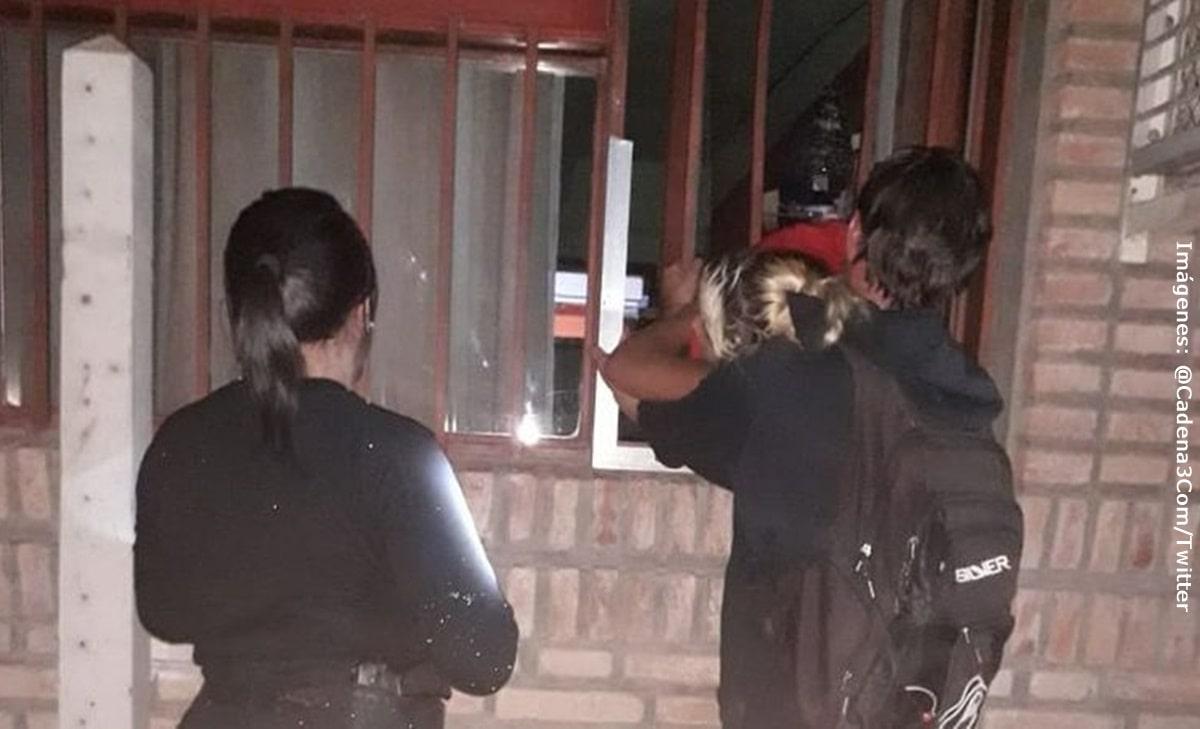 Embarazada iba a robar un club pero su panza se atoró en una ventana