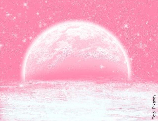 ilustración de la luna rosa