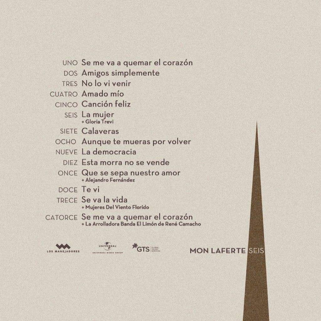Listado de canciones incluídas en el álbum Seis de Mon Laferte