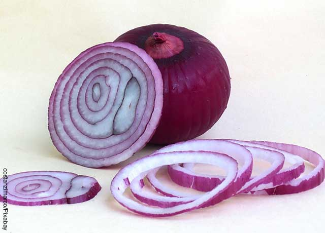 Foto de cebolla roja cortada en rodajas