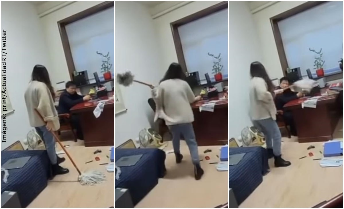 """Mujer cogió a """"traperazos"""" a su jefe por acosarla sexualmente"""