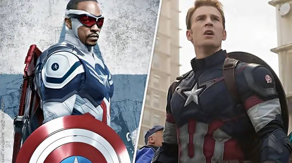 Foto mosaico del nuevo Capitán América y el anterior Capitán América