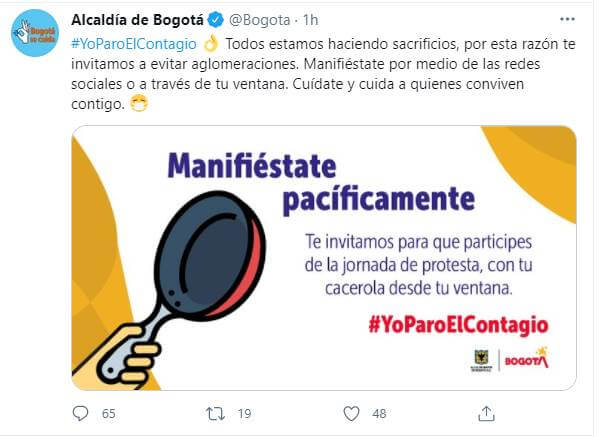 Pint de Twitter de Alcaldía de Bogotá sobre protestas del 28 de abril