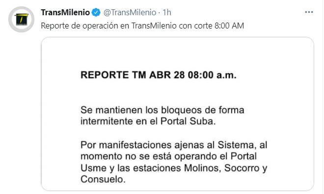 Print de Twitter de Transmilenio indicando cierres por bloqueos el 28 de abril 2021