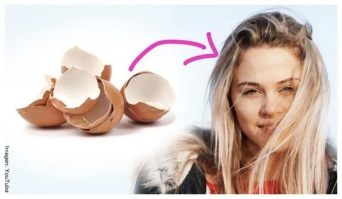 Foto de cáscaras de huevo para el pelo