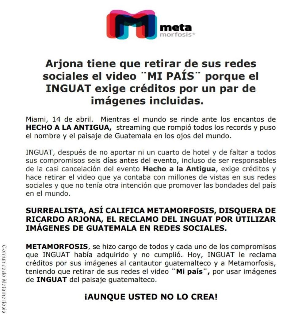 Comunicado de prensa de Ricardo Arjona sobre la eliminación de su video