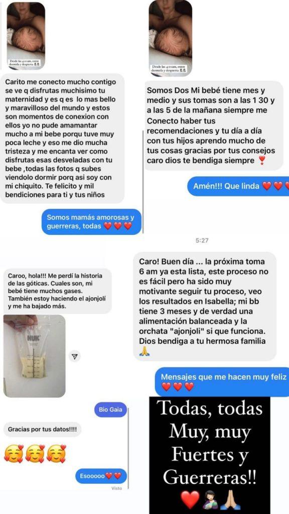 Print de Comentarios en IG de Caro Cruz