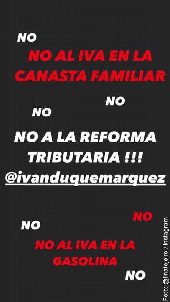 imagen de comentarios de Lina Tejeiro sobre la reforma tributaria