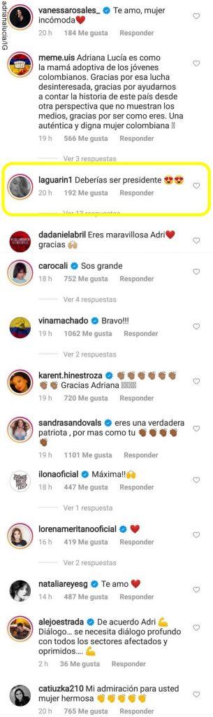 Print de comentarios en Instagram de Adriana Lucía