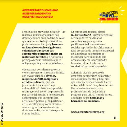 Documento Despertar de mayo por Colombia