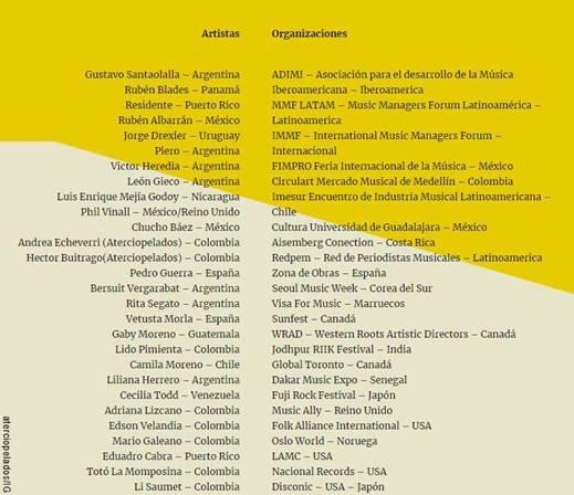 Firmantes Despertar de mayo por Colombia