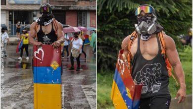 """""""Capitán Colombia"""", el manifestante musculoso que causa sensación"""