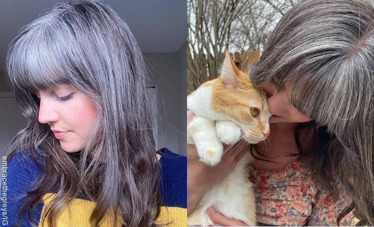 Mujer joven y canosa deja de tinturarse el cabello y presume su pelo gris
