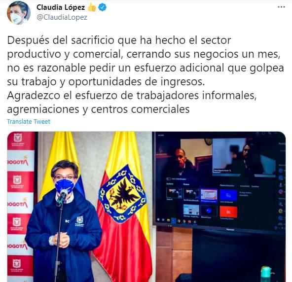 Print de Twitter de Claudia López