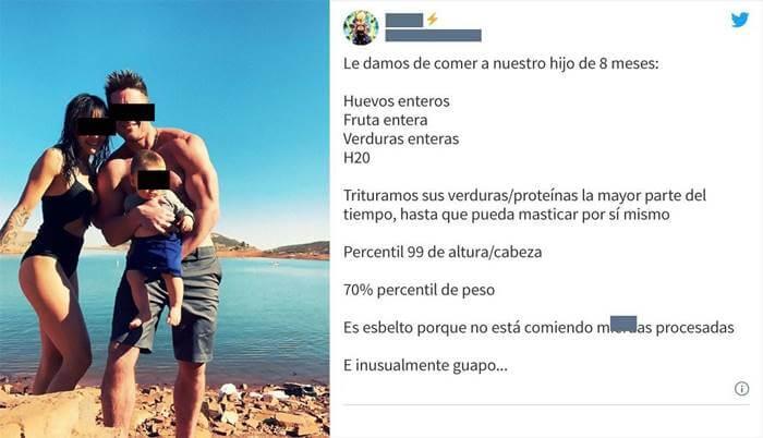 """Print de trino de un padre que describe a su hijo de 8 meses como """"esbelto"""""""