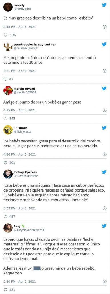 """Print de comentarios en Twitter a un padre que llama a su hijo de 8 meses """"esbelto"""""""