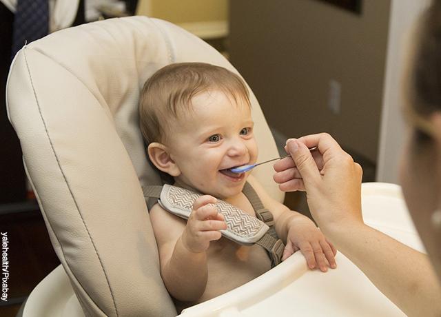 Foto de un bebé sentado comiendo una papilla que le dan