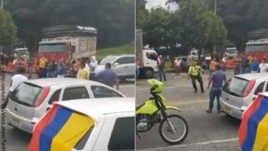 Policía y camioneros armaron un picadito de fútbol en pleno Paro Nacional