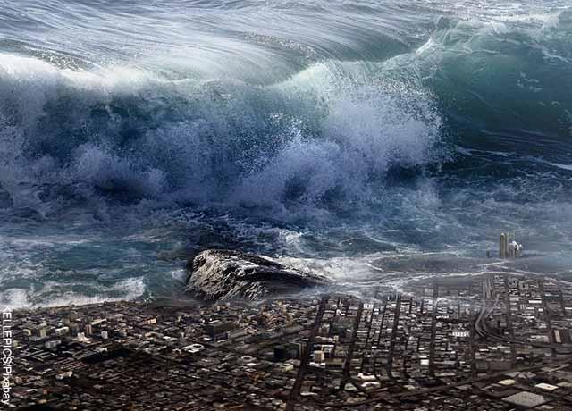 Foto de una animación de olas gigantes sobre una ciudad