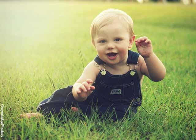 Foto de un bebé sentando el pasto jugando
