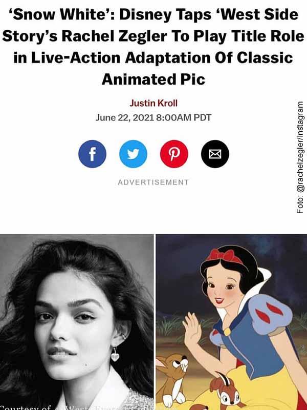 Actriz colomboestadounidense personificará a Blancanieves en película de Disney