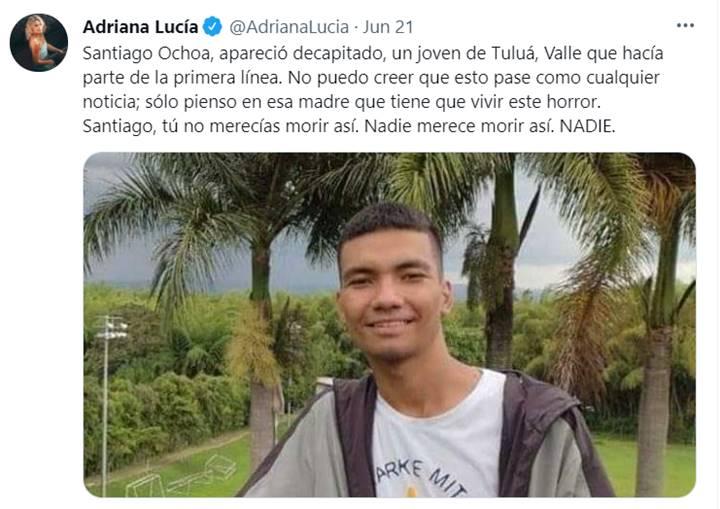 Print del Twitter de Adriana Lucía
