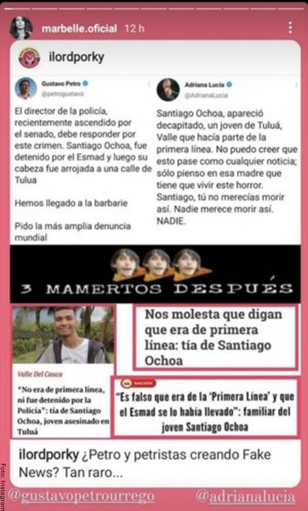 Foto del mensaje de Marbelle a Adriana Lucía