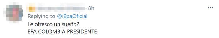 Print de Twitter postulando a Daneydi Barrera para la presidencia de Colombia