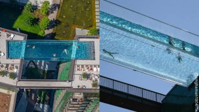 Esta es la piscina flotante de Londres, a 35 metros de altura