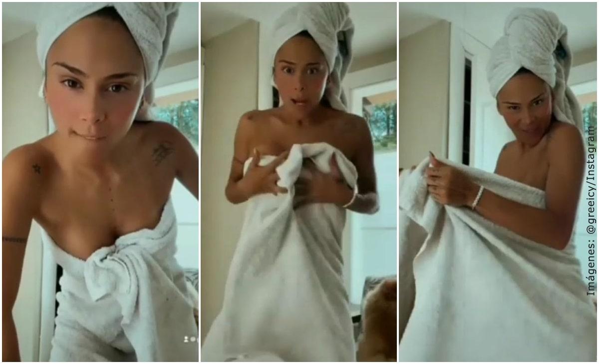 Greeicy Rendón recreó video viral en toalla y casi muestra de más