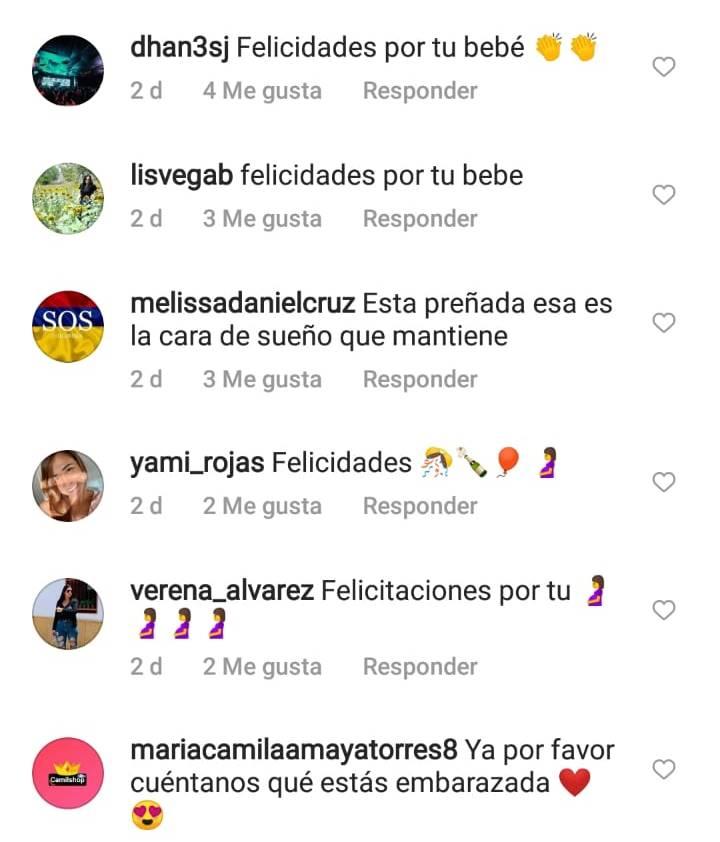 Comentarios en IG de Juana Valentina