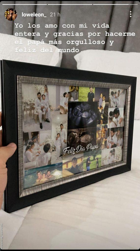 Screenshot de la historia de Lowe León en la que comparte el regalo del día del padre