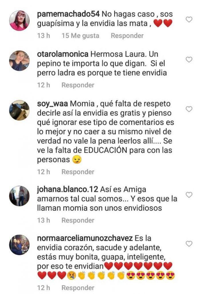 Print de comentarios en IG de Laura Bozzo
