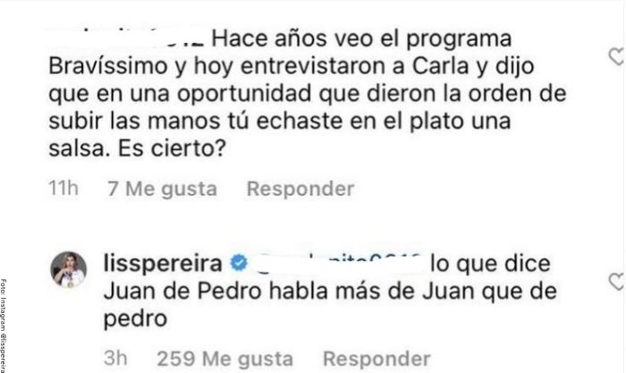 Foto de comentario de Liss Pereira sobre Carla Giraldo