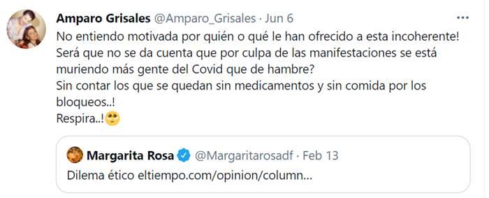 Print de Twitter de Amparo Grisales