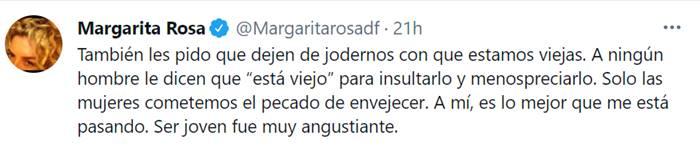 Print de Twitter de Margarita Rosa de Francisco