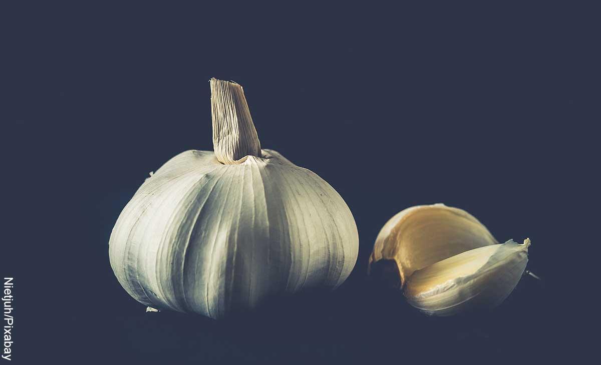 Foto de un ajo y un diente sobre una mesa y fondo negro que revela para qué sirve el ajo en ayunas