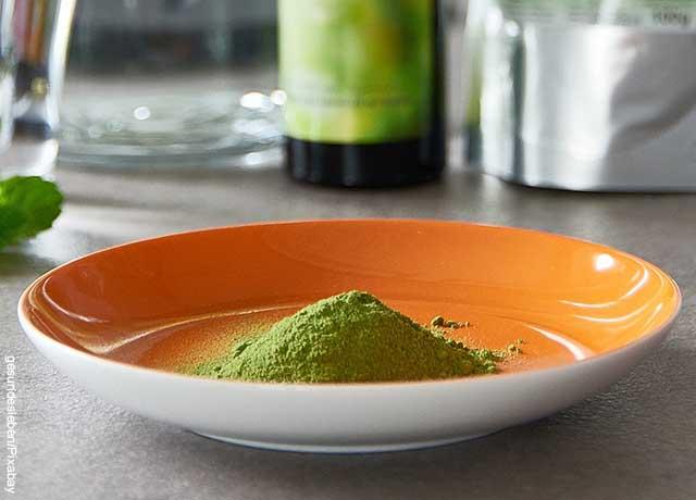 Foto de un plato sobre una mesa con polvo verde