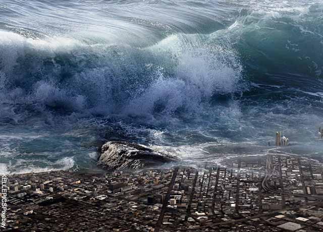 Foto de un maremoto en una ciudad que muestra qué significa soñar con el fin del mundo