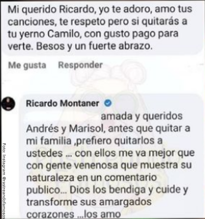 Foto del comentario de Ricardo Montaner a seguidora