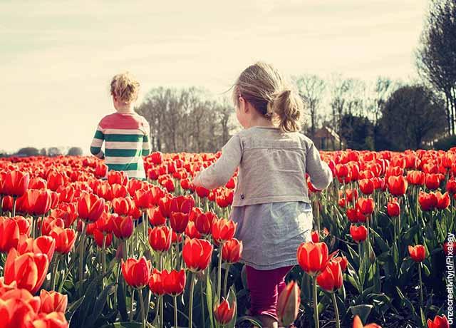 Foto de dos niñas corriendo entre flores