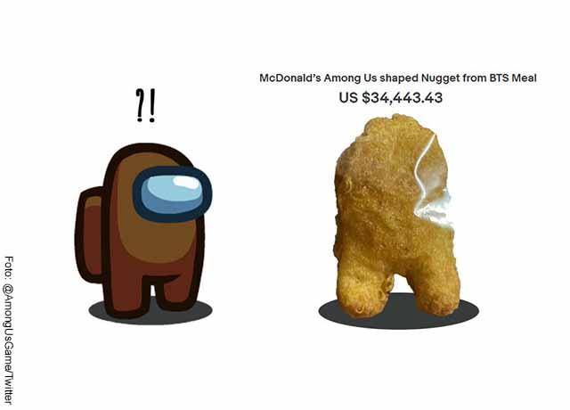 Subastan nugget de pollo con forma de personaje de videojuego