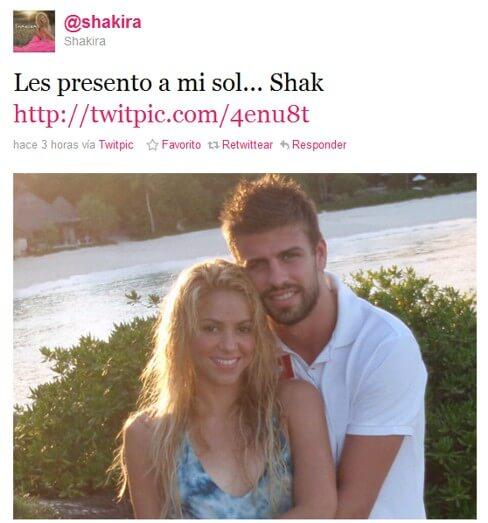 Print de Twitter de Shakira con Piqué