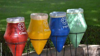 Foto de 4 canecas de reciclaje por colores y que muestran su significado