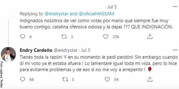 Endry Cardeño reveló por qué votó por Mario Espitia para salir de Masterchef