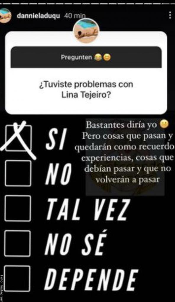Foto de respuesta de ex de Andy Rivera sobre Lina Tejeiro