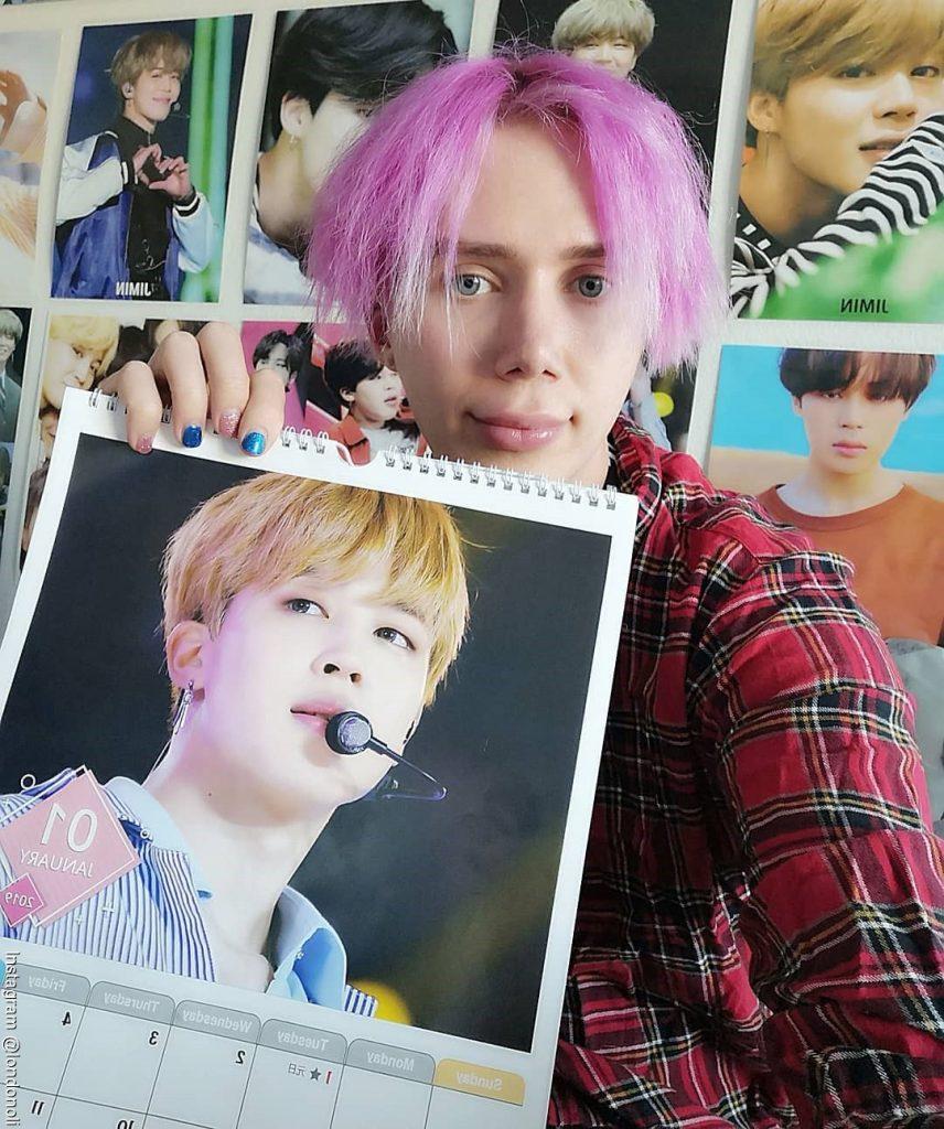 Foto de Oli London sin tantas cirugías y la foto de su cantante favorito de la Banda BTS