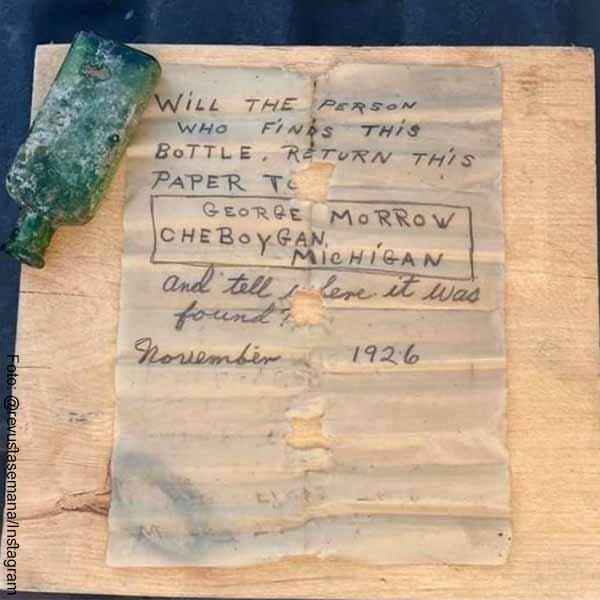 Mujer encontró botella con mensaje de hace 95 años